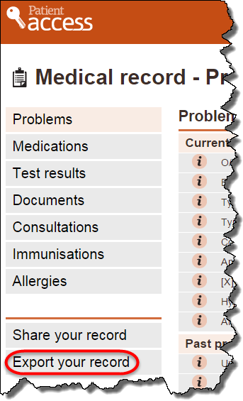 Export from Medical Record1
